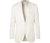 Off-white Slim-fit Wool And Silk-blend Tuxedo Jacket - Off-white