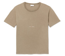 Distressed Printed Washed Cotton-jersey T-shirt - Green