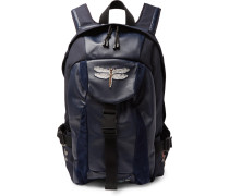 Valentino Garavani Appliquéd Leather, Suede And Canvas Backpack