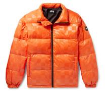 Appliquéd Checkerboard Shell Down Jacket - Orange