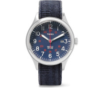 Waterbury United Stainless Steel And Stonewashed-canvas Watch - Blue
