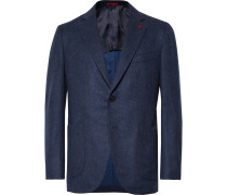 Storm-blue Slim-fit Wool And Cashmere-blend Blazer