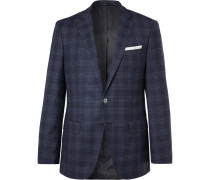 Navy Hutsons Slim-fit Prince Of Wales Checked Virgin Wool Blazer - Navy
