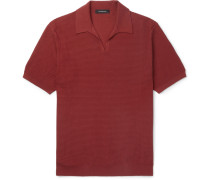 Waffle-knit Cotton Polo Shirt - Red