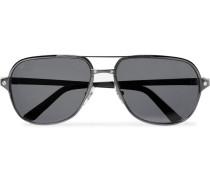 Santos De Cartier Aviator-style Leather-trimmed Gunmetal-tone Polarised Sunglasses - Gunmetal