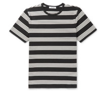 Slim-fit Striped Cotton-jersey T-shirt - Black