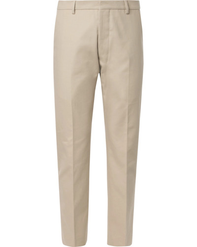 Beige Cotton-twill Suit Trousers