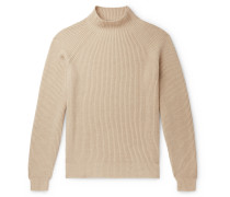 Ribbed Baby Cashmere Mock-Neck Sweater