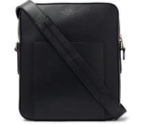 Panama Cross-grain Leather Messenger Bag - Black
