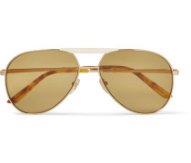Endura Aviator-style Gold-tone And Horn-effect Sunglasses