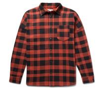 Printed Buffalo-checked Cotton-blend Overshirt