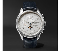 Clifton Automatic Chronograph 43mm Stainless Steel And Alligator Watch - White