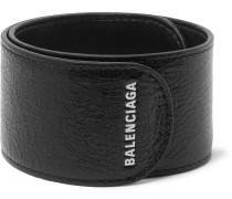 Logo-print Textured-leather Snap Bracelet