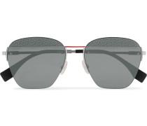 Aviator-Style Logo-Print Silver-Tone Sunglasses