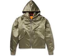 Oversized Satin Hooded Bomber Jacket