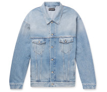 Oversized Logo-appliquéd Distressed Denim Jacket