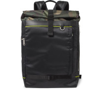 Leather-Trimmed Camouflage-Panelled Ripstop Backpack