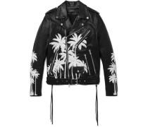 Embellished Hand-painted Vitellino Leather Biker Jacket