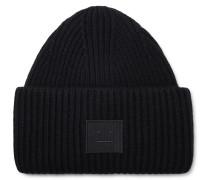 Logo-appliquéd Ribbed Wool Beanie - Black