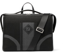Leather-trimmed Tech-knit Briefcase - Black