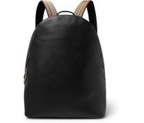 Stripe-trimmed Full-grain Leather Backpack - Black