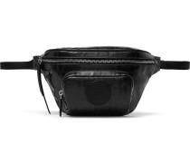 Leather-trimmed Logo-print Coated-canvas Belt Bag - Black