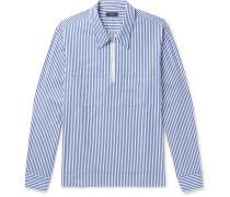 Gilroy Striped Cotton-poplin Zip-up Half-placket Shirt