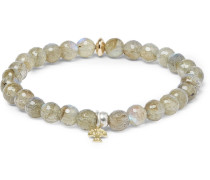 Labradorite, Sterling Silver And 14-karat Gold Bracelet - Gray green