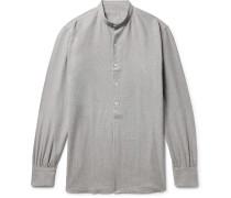 Grandad-collar Puppytooth Cotton-flannel Shirt - Dark gray