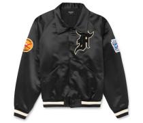Appliquéd Satin Bomber Jacket