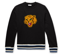 Appliquéd Fleece-back Cotton-jersey Sweatshirt - Black