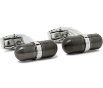 Gunmetal-tone Stainless Steel Cufflinks - Silver