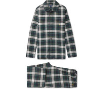 Checked Cotton-flannel Pyjama Set - Green