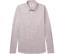 Alberto Houndstooth Brushed-cotton Shirt - Red