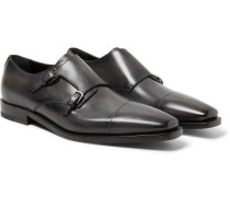 Cap-toe Polished-leather Monk-strap Shoes - Black