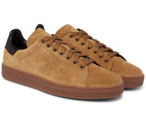 Warwick Perforated Suede Sneakers - Tan