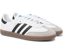 Samba Suede-trimmed Leather Sneakers - White