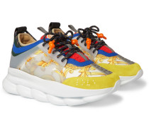 Chain Reaction Panelled Canvas Sneakers - Yellow