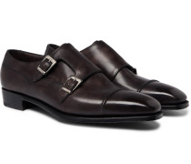 Caine Leather Monk-strap Shoes - Brown
