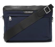 Leather-Trimmed Canvas Messenger Bag