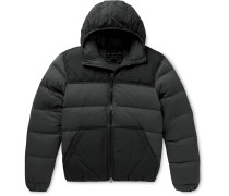 Featherweight Canvas-Trimmed Quilted Nylon Hooded Down Jacket