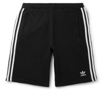 Logo-Embroidered Striped Loopback Cotton-Jersey Shorts