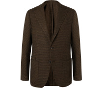 Unstructured Puppytooth Wool Blazer