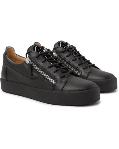 Logo-flocked Leather Sneakers - Black