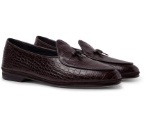 Marphy Suede-trimmed Croc-effect Leather Loafers - Dark brown