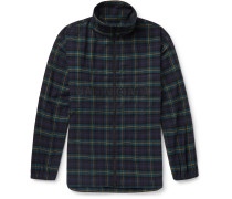 Oversized Logo-Embroidered Checked Cotton-Flannel Track Jacket