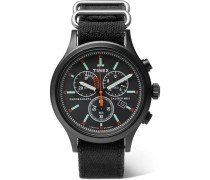 Allied Chronograph Brass And Canvas Watch - Black