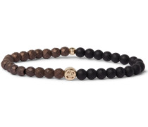 Bead And 14-karat Gold Bracelet - Black