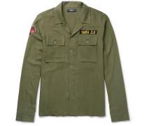 Appliquéd Herringbone Cotton And Cashmere-blend Overshirt