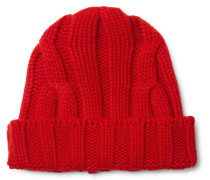 Ribbed Merino Wool And Cashmere-blend Beanie - Red